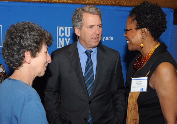 Prof. Linda Ridley with CUNY Chancellor Milliken at CUNY's Salute to Scholars